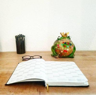 tirelire grenouille sur bureau minimaliste