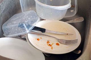 La vaisselle sale attire les moucherons
